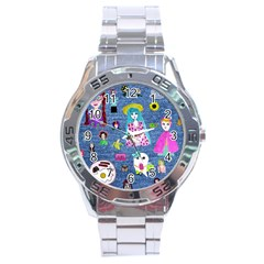 Blue Denim And Drawings Stainless Steel Analogue Watch