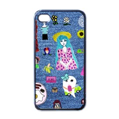 Blue Denim And Drawings iPhone 4 Case (Black)