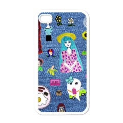 Blue Denim And Drawings iPhone 4 Case (White)
