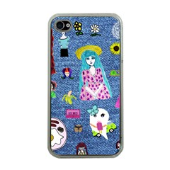 Blue Denim And Drawings iPhone 4 Case (Clear)