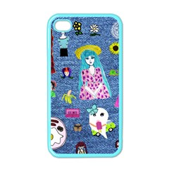 Blue Denim And Drawings iPhone 4 Case (Color)