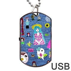 Blue Denim And Drawings Dog Tag USB Flash (One Side)
