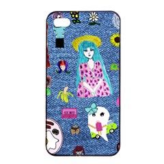 Blue Denim And Drawings iPhone 4/4s Seamless Case (Black)