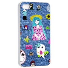 Blue Denim And Drawings iPhone 4/4s Seamless Case (White)