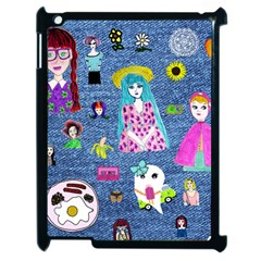 Blue Denim And Drawings Apple iPad 2 Case (Black)