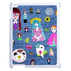 Blue Denim And Drawings Apple iPad 2 Case (White)