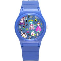 Blue Denim And Drawings Round Plastic Sport Watch (S)