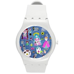 Blue Denim And Drawings Round Plastic Sport Watch (M)