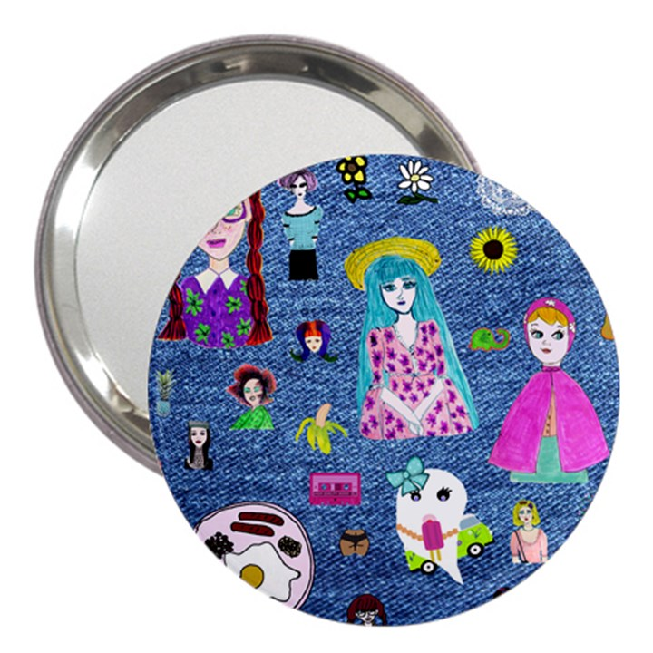 Blue Denim And Drawings 3  Handbag Mirrors