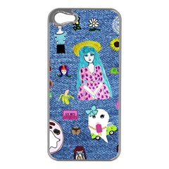 Blue Denim And Drawings iPhone 5 Case (Silver)