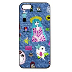 Blue Denim And Drawings iPhone 5 Seamless Case (Black)