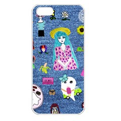 Blue Denim And Drawings iPhone 5 Seamless Case (White)
