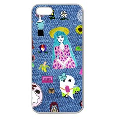 Blue Denim And Drawings Apple Seamless iPhone 5 Case (Clear)