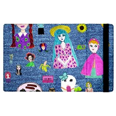 Blue Denim And Drawings Apple iPad 3/4 Flip Case