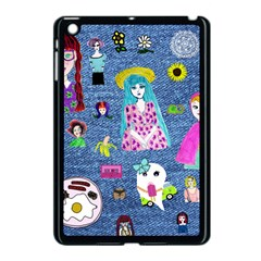 Blue Denim And Drawings Apple iPad Mini Case (Black)