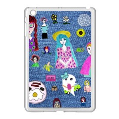 Blue Denim And Drawings Apple iPad Mini Case (White)