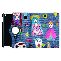 Blue Denim And Drawings Apple iPad 2 Flip 360 Case