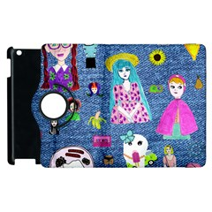 Blue Denim And Drawings Apple iPad 3/4 Flip 360 Case