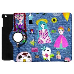 Blue Denim And Drawings Apple iPad Mini Flip 360 Case