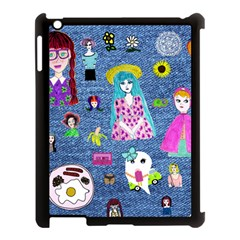 Blue Denim And Drawings Apple iPad 3/4 Case (Black)