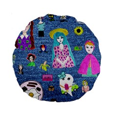 Blue Denim And Drawings Standard 15  Premium Round Cushions