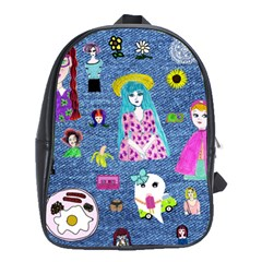 Blue Denim And Drawings School Bag (XL)