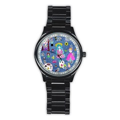 Blue Denim And Drawings Stainless Steel Round Watch