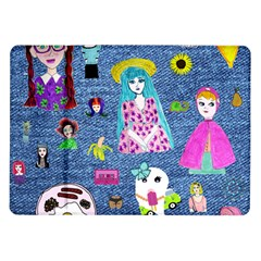 Blue Denim And Drawings Samsung Galaxy Tab 10.1  P7500 Flip Case
