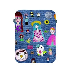 Blue Denim And Drawings Apple iPad 2/3/4 Protective Soft Cases