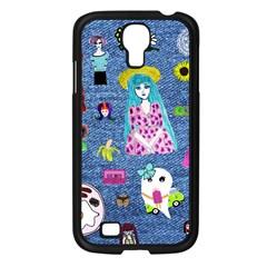 Blue Denim And Drawings Samsung Galaxy S4 I9500/ I9505 Case (Black)