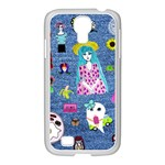 Blue Denim And Drawings Samsung GALAXY S4 I9500/ I9505 Case (White) Front