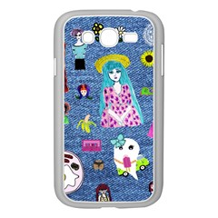Blue Denim And Drawings Samsung Galaxy Grand DUOS I9082 Case (White)