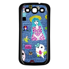 Blue Denim And Drawings Samsung Galaxy S3 Back Case (Black)