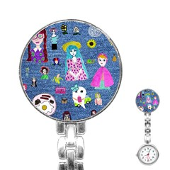 Blue Denim And Drawings Stainless Steel Nurses Watch