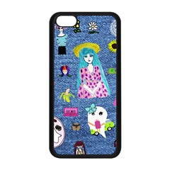 Blue Denim And Drawings iPhone 5C Seamless Case (Black)