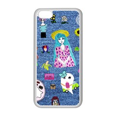 Blue Denim And Drawings iPhone 5C Seamless Case (White)