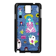 Blue Denim And Drawings Samsung Galaxy Note 3 N9005 Case (Black)