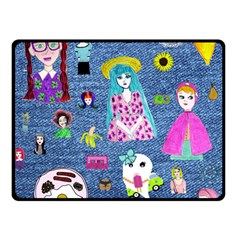 Blue Denim And Drawings Double Sided Fleece Blanket (Small)