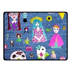 Blue Denim And Drawings Double Sided Fleece Blanket (Small)  45 x34  Blanket Back