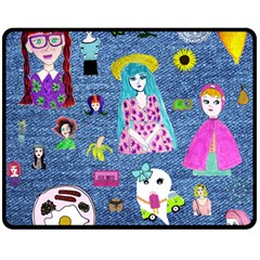 Blue Denim And Drawings Double Sided Fleece Blanket (Medium)