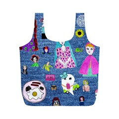 Blue Denim And Drawings Full Print Recycle Bag (M)