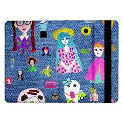 Blue Denim And Drawings Samsung Galaxy Tab Pro 12.2  Flip Case