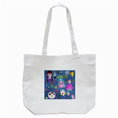 Blue Denim And Drawings Tote Bag (White)