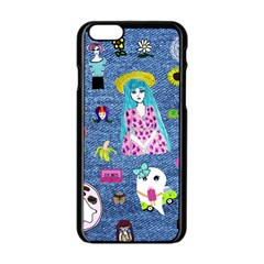 Blue Denim And Drawings iPhone 6/6S Black Enamel Case