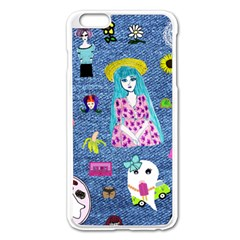 Blue Denim And Drawings iPhone 6 Plus/6S Plus Enamel White Case