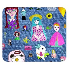 Blue Denim And Drawings Double Sided Flano Blanket (Small)