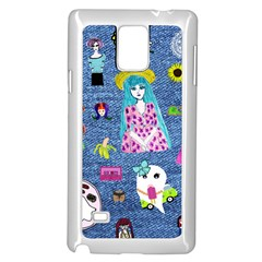 Blue Denim And Drawings Samsung Galaxy Note 4 Case (White)