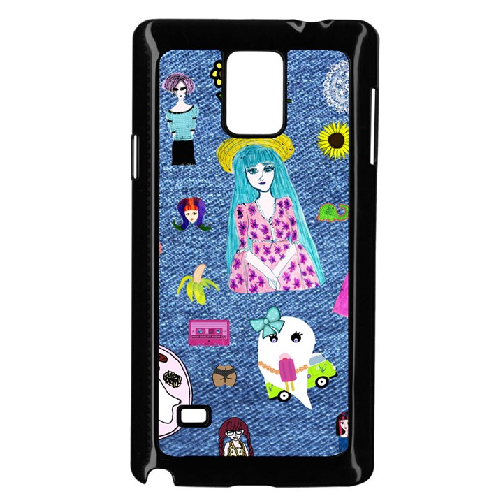 Blue Denim And Drawings Samsung Galaxy Note 4 Case (Black)