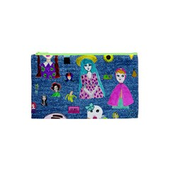 Blue Denim And Drawings Cosmetic Bag (XS)