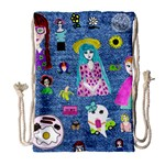 Blue Denim And Drawings Drawstring Bag (Large) Front